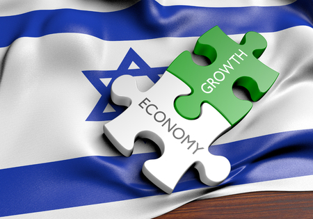 financial growth: Israel economy and financial market growth concept, 3D rendering