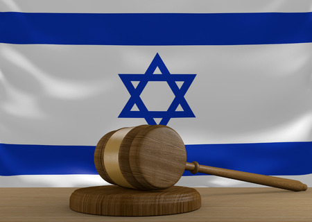Israel law and court justice system with national flag, 3D rendering