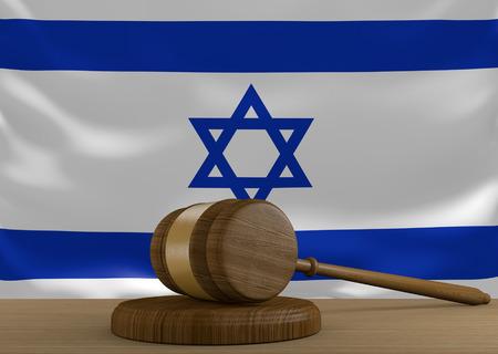 orden judicial: sistema de derecho y la justicia de tenis Israel con la bandera nacional, 3D