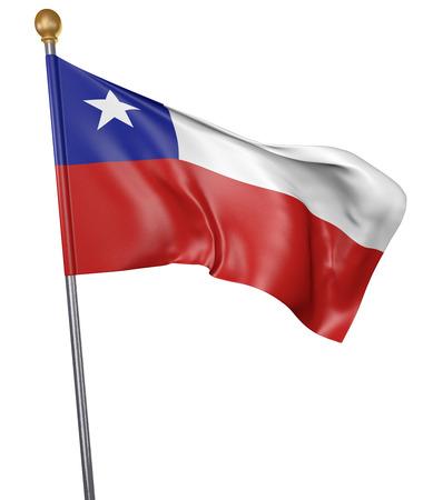 bandera chilena: bandera nacional para el país de Chile aislado en el fondo blanco, 3D