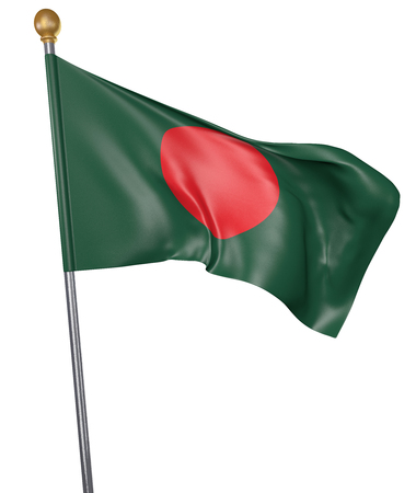 National flag for country of Bangladesh isolated on white background, 3D rendering