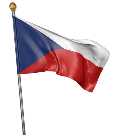 National flag for country of Czech Republic isolated on white background, 3D rendering Stock Photo