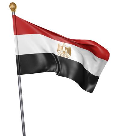 egypt revolution: National flag for country of Egypt isolated on white background, 3D rendering