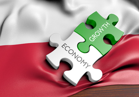 financial concept: Poland economy and financial market growth concept, 3D rendering Stock Photo