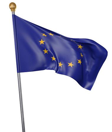 Bandierina per l'Unione Europea isolata su fondo bianco, rappresentazione 3D Archivio Fotografico