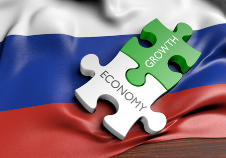 financial growth: Russia economy and financial market growth concept, 3D rendering