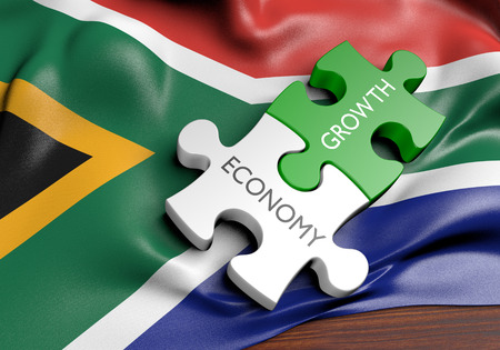 south africa: South Africa economy and financial market growth concept, 3D rendering