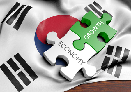 financial growth: South Korea economy and financial market growth concept, 3D rendering