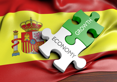 financial market: Spain economy and financial market growth concept, 3D rendering