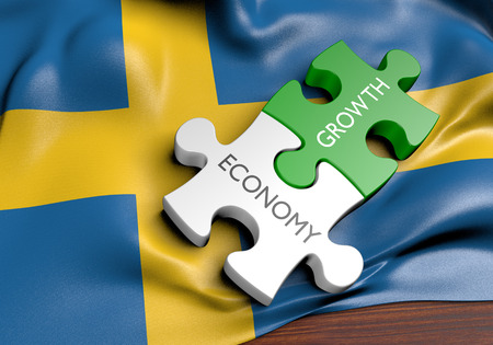 financial growth: Sweden economy and financial market growth concept, 3D rendering