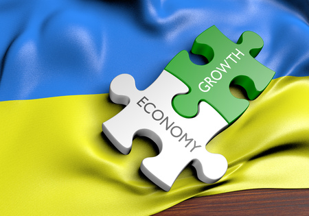 financial growth: Ukraine economy and financial market growth concept, 3D rendering Stock Photo