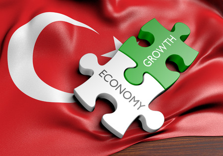 capital gains: Turkey economy and financial market growth concept, 3D rendering
