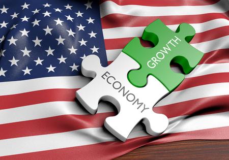 Concept de croissance économique et financière des États-Unis, rendu 3D