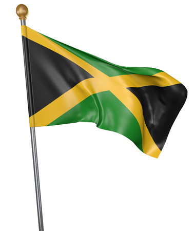 National flag for country of Jamaica isolated on white background, 3D rendering Stock Photo