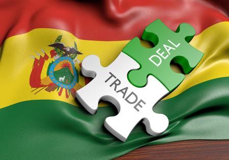 Tratos comerciales de Bolivia y concepto de comercio internacional, representación 3D