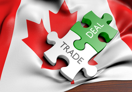 commerce: Canada trade deals and international commerce concept, 3D rendering