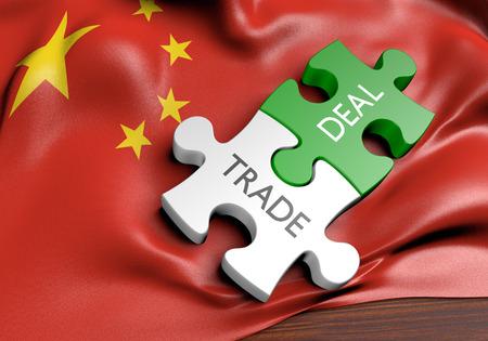 obchod: Čína obchodní dohody a mezinárodní obchod koncepce, 3D rendering