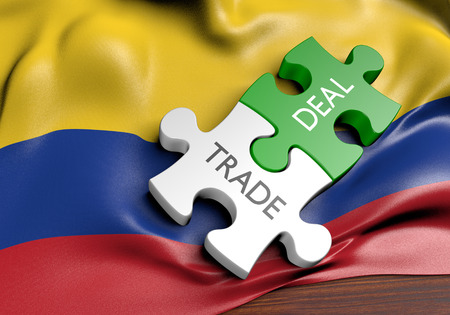 foreign policy: Colombia trade deals and international commerce concept, 3D rendering
