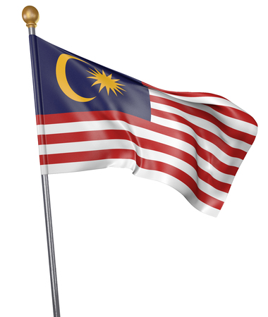 National flag for country of Malaysia isolated on white background, 3D rendering Stock Photo