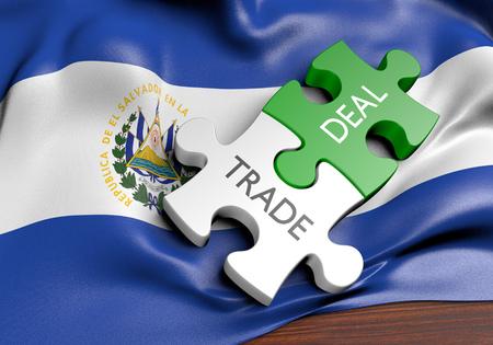 El Salvador trade deals and international commerce concept, 3D rendering