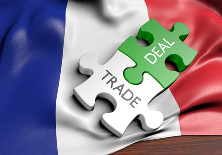 business development: France trade deals and international commerce concept, 3D rendering