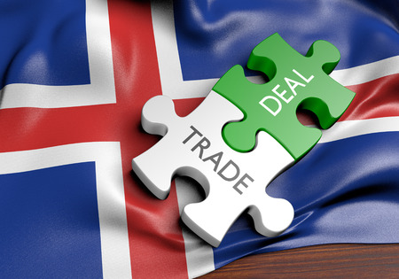 the icelandic flag: Iceland trade deals and international commerce concept, 3D rendering