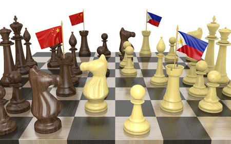 struggle: China and Philippines foreign policy strategy and power struggle, 3D rendering