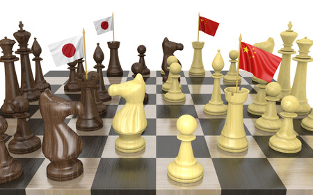 struggle: Japan and China foreign policy strategy and power struggle, 3D rendering