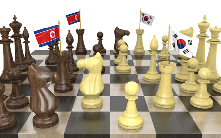 struggle: North Korea and South Korea foreign policy strategy and power struggle, 3D rendering