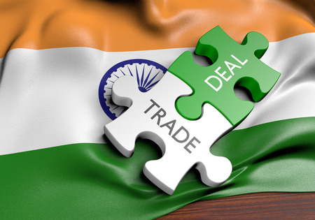 foreign policy: India trade deals and international commerce concept, 3D rendering