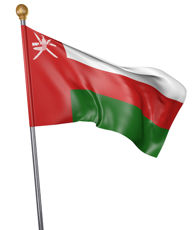 National flag for country of Oman isolated on white background, 3D rendering