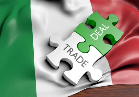Tratos comerciales de Italia y concepto de comercio internacional, representación 3D