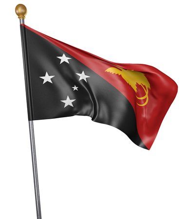 papua new guinea: National flag for country of Papua New Guinea isolated on white background, 3D rendering Stock Photo