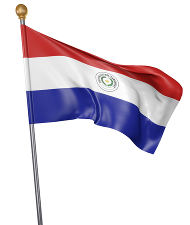 National flag for country of Paraguay isolated on white background, 3D rendering
