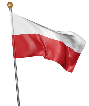 National flag for country of Poland isolated on white background, 3D rendering Stock Photo
