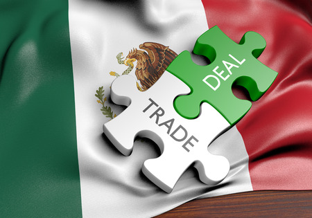 Mexico trade deals and international commerce concept, 3D rendering Stock Photo