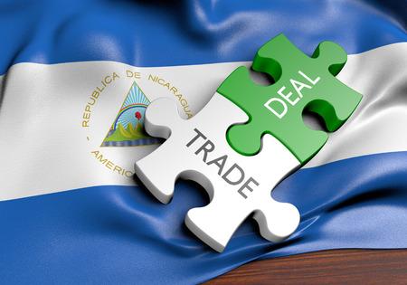 Nicaragua trade deals and international commerce concept, 3D rendering