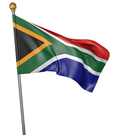 National flag for country of South Africa isolated on white background, 3D rendering