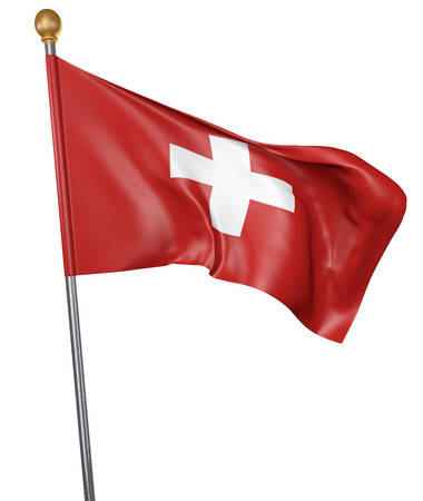 switzerland flag: National flag for country of Switzerland isolated on white background, 3D rendering