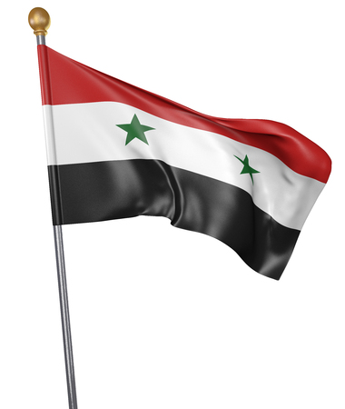 National flag for country of Syria isolated on white background, 3D rendering