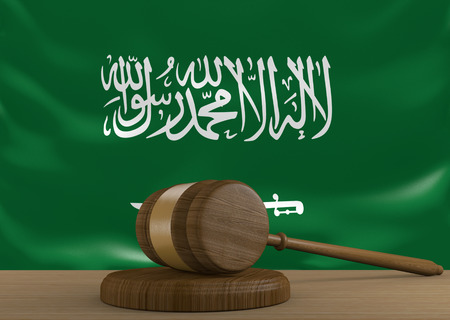 Saudi Arabia law and court justice system with national flag, 3D rendering