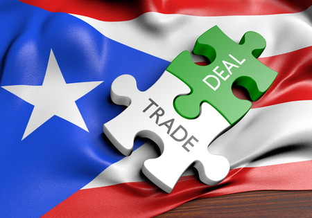 treaty: Puerto Rico trade deals and international commerce concept, 3D rendering Stock Photo