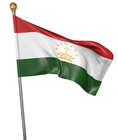 National flag for country of Tajikistan isolated on white background, 3D rendering