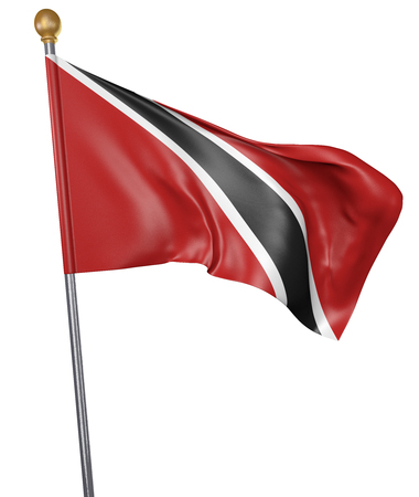 National flag for country of Trinidad and Tobago isolated on white background, 3D rendering Stock Photo