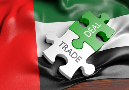 United Arab Emirates ofertas comerciales y el concepto del comercio internacional, representación 3D