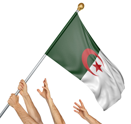 activism: Team of peoples hands raising the Algeria national flag, 3D rendering isolated on white background