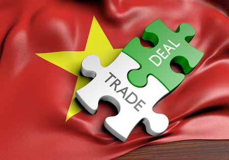 treaty: Vietnam trade deals and international commerce concept, 3D rendering