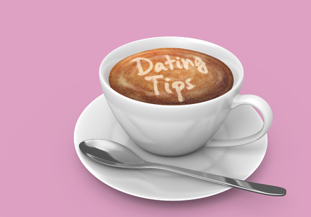 meetup: Coffee cup on a saucer with the words dating tips written in the latte foam, 3D rendering