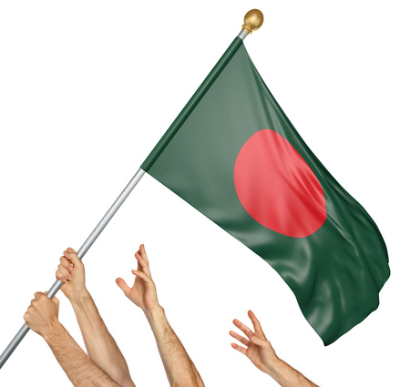 bangladesh 3d: Team of peoples hands raising the Bangladesh national flag, 3D rendering isolated on white background Stock Photo