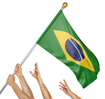 Team of peoples hands raising the Brazil national flag, 3D rendering isolated on white background Stock Photo